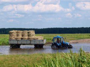 rzeka Biebrza - przeprawa traktorem