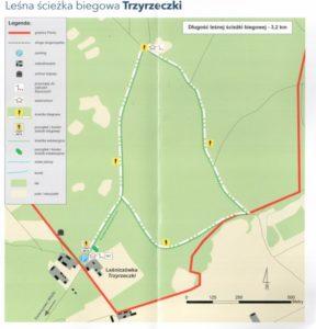 Mapa ścieżka edukacyjna Las - Leśniczówka Trzyrzeczki