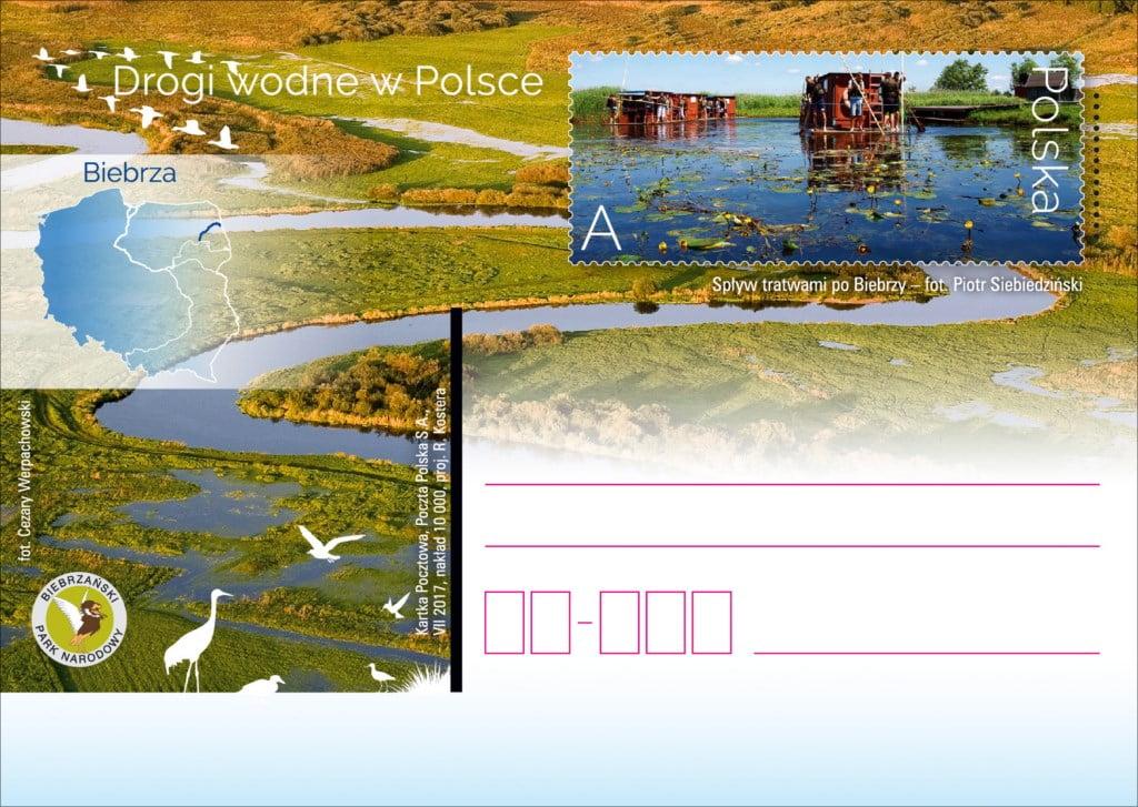 Spływy trawami po Biebrzy. Kartka pocztowa. Drogi wodne w Polsce