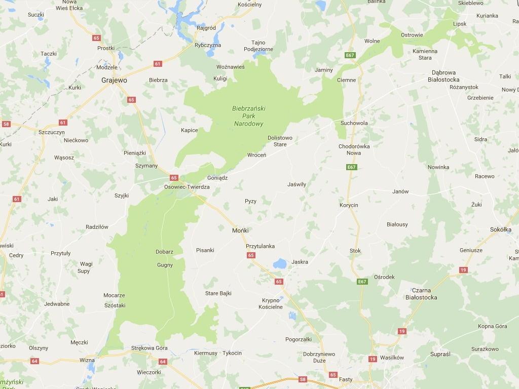 Mapa Biebrzy